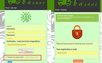 Bazaar – php example code – part 18 – forgotten pasword functionality